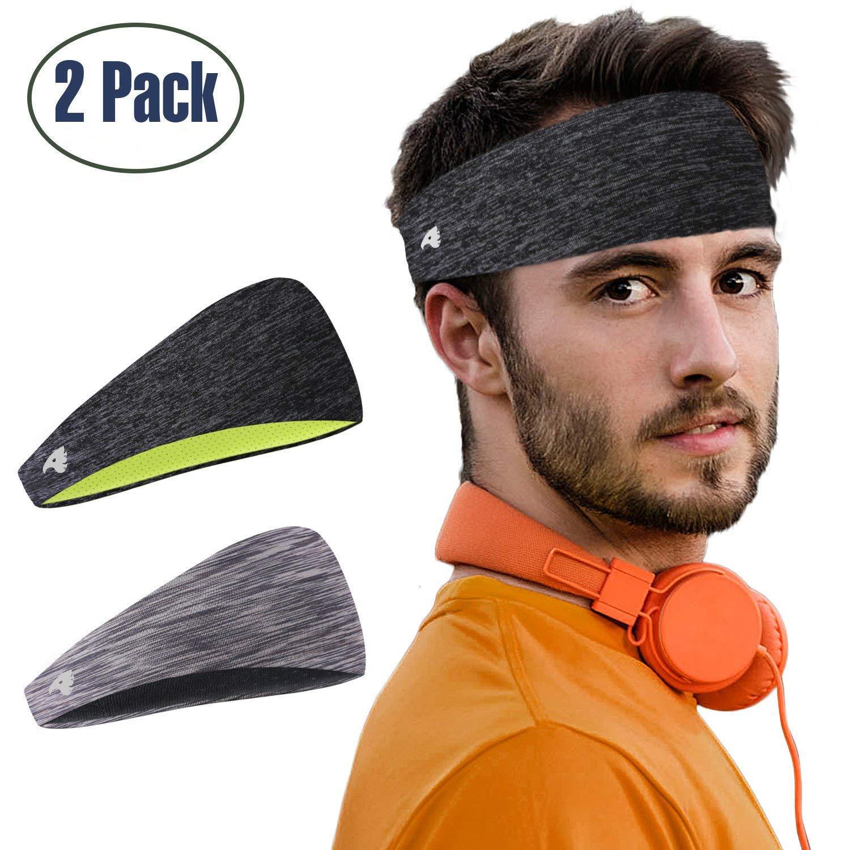 810e44736 COOLOO Diadema para Hombres, 2 Pack Sweatband Deportiva para Hombre Mujer  Unisex, Rendimiento Estiramiento y humectación para Correr Gym Tennis  Basketball: ...