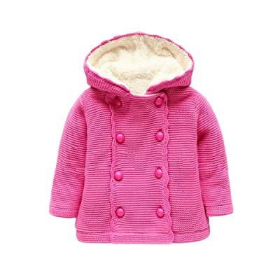 5cbae5f4b Canvos Baby Girls Sweaters Hoodies Toddler Winter Knited Button Jacket  Outerwear
