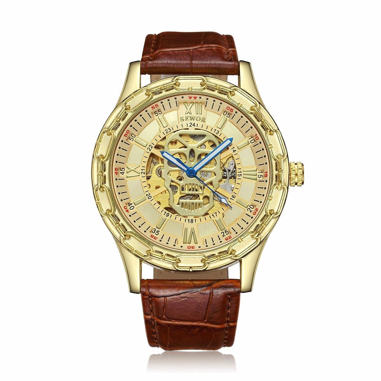 Seworメンズゴールドスケルトン透明ヴィンテージスタイル機械(自動)腕時計 B06Y25Y5RK