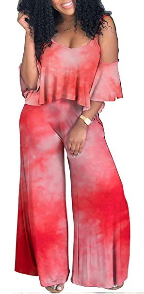 4827ed2186d Image Unavailable. Image not available for. Color  DingAng Women s  Two-Piece Romper Sexy Tie Dye Print Cold Shoulder Top Wide Leg Long