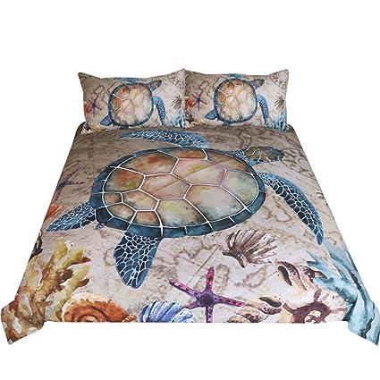 Sleepwish Marine Treasures Vintage Map Bedding 3 Pieces Blue Sea Turtle  Duvet Cover Starfish Coral Reef Coastal Bedspread Queen