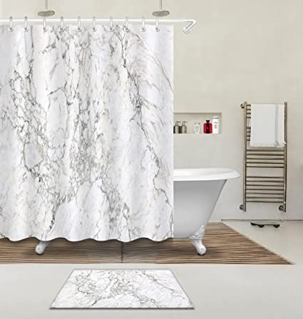 Concise Decoration Marble Texture Domolite Decor Luxury Shower Curtain Polyester Fabric 3D Digital Printing 60x72quot