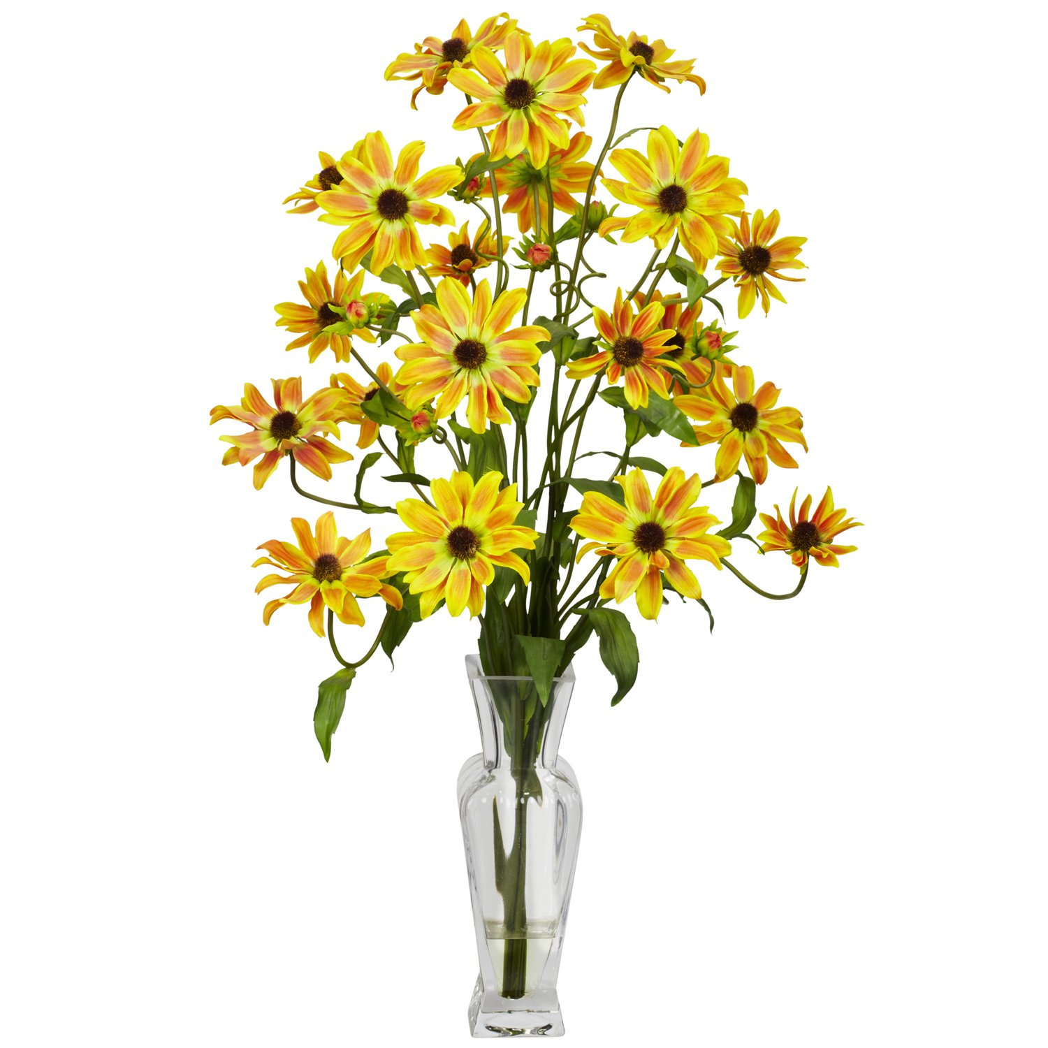 Nearly Natural 1172-YL Cosmos with Vase Silk Flower Arrangement, Yellow by Nearly Natural イエロー イエロー B00BHNTSZW