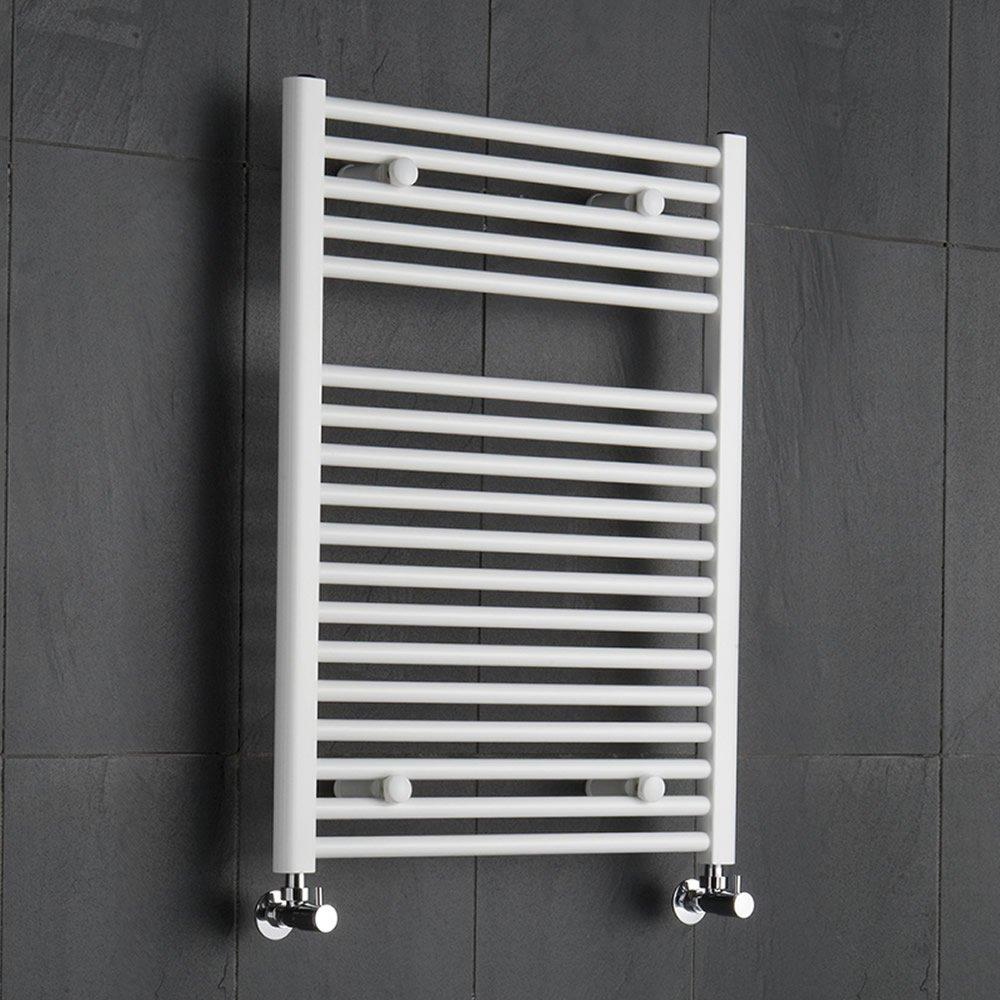 Hudson Reed Radiatore Scaldasalviette Bagno in Aciaio Bianco (800x600mm) | 567 Watt | Termoarredo Compatto | Riscaldamento ad Acqua | 18 Elementi | Interasse 550mm