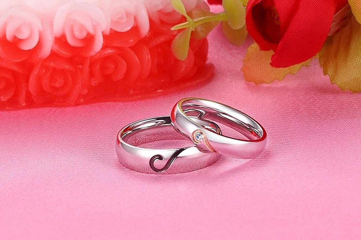 Beydodo Ring for Him and Her Matching Rings for Couples Stainless ...
