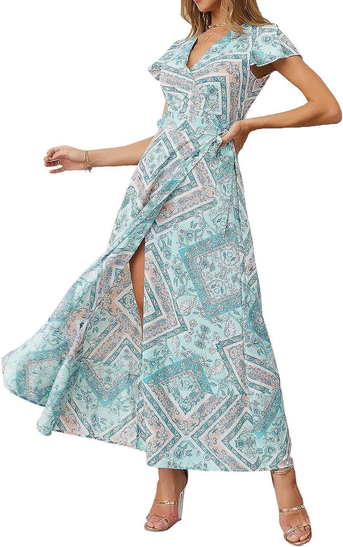 Ajpguot Sommer Damen Lange Kleider Kurzarm V-Ausschnitt