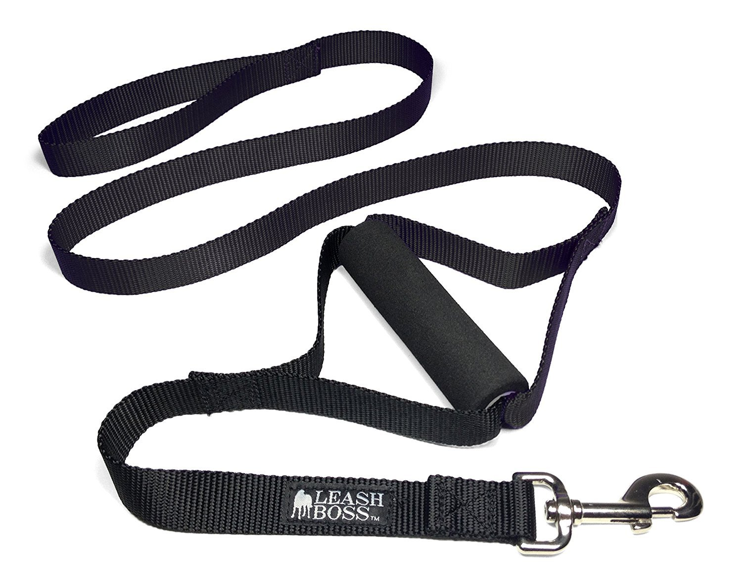 Black Leashboss Lite Two Handle Training Leash for Large Dogs Heavy Duty Double Traffic Handle Lead (Black)