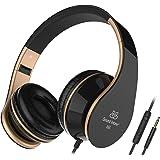 Sound Intone I65 plegable auriculares con cable de audio de 3,5 mm, peso ligero lo largo de la oreja los auriculares auriculares con control de volumen en línea y micrófono para PC / Iphone / Ipad / Samsung / Android (Negro/Oro)
