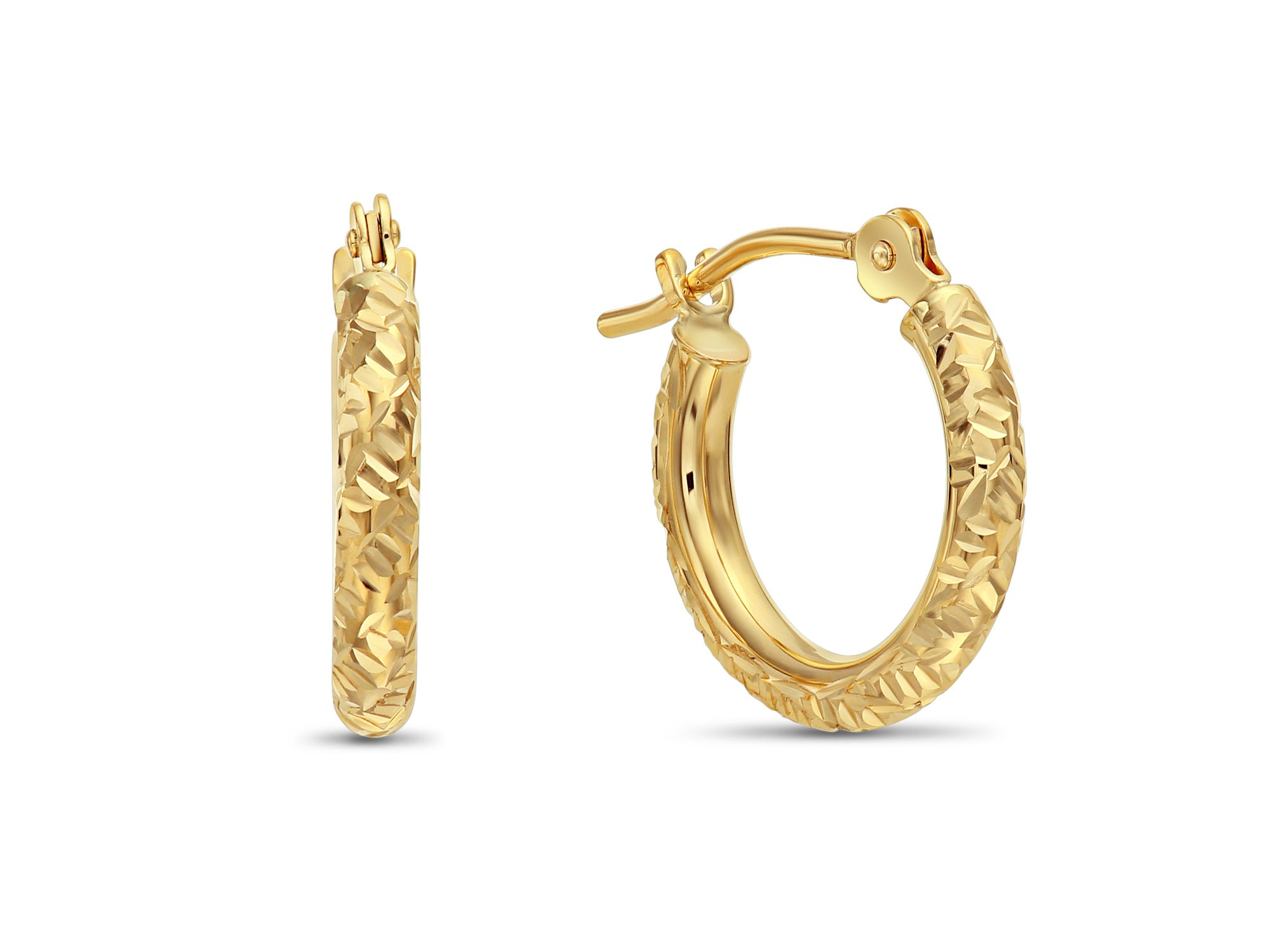14k Yellow Gold Hand Engraved Diamond-cut Round Hoop Earrings, (0.5 inch Diameter)