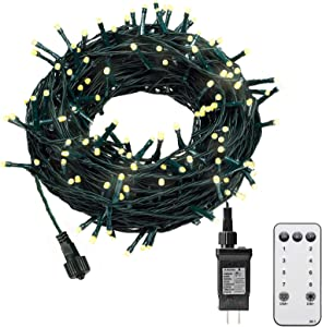 KINGSO 300 LED 105ft Christmas String Lights Outdoor Indoor Remote Control 8 Modes Memory Function for Christmas Party Garden End to End Connectable Waterproof IP65 (Warm White)