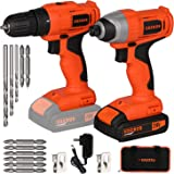EREBUS 20V Max Cordless Drill and Compact Driver Combo Kit w/ 1.3Ah Batteries, Charger and 11pcs Bits (D6001)