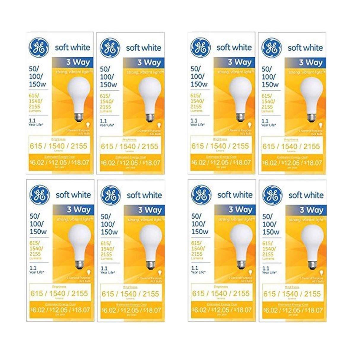 97494 Lighting 50/100/150-Watt, 3-Way Light Bulb, Soft White, 8-Pack