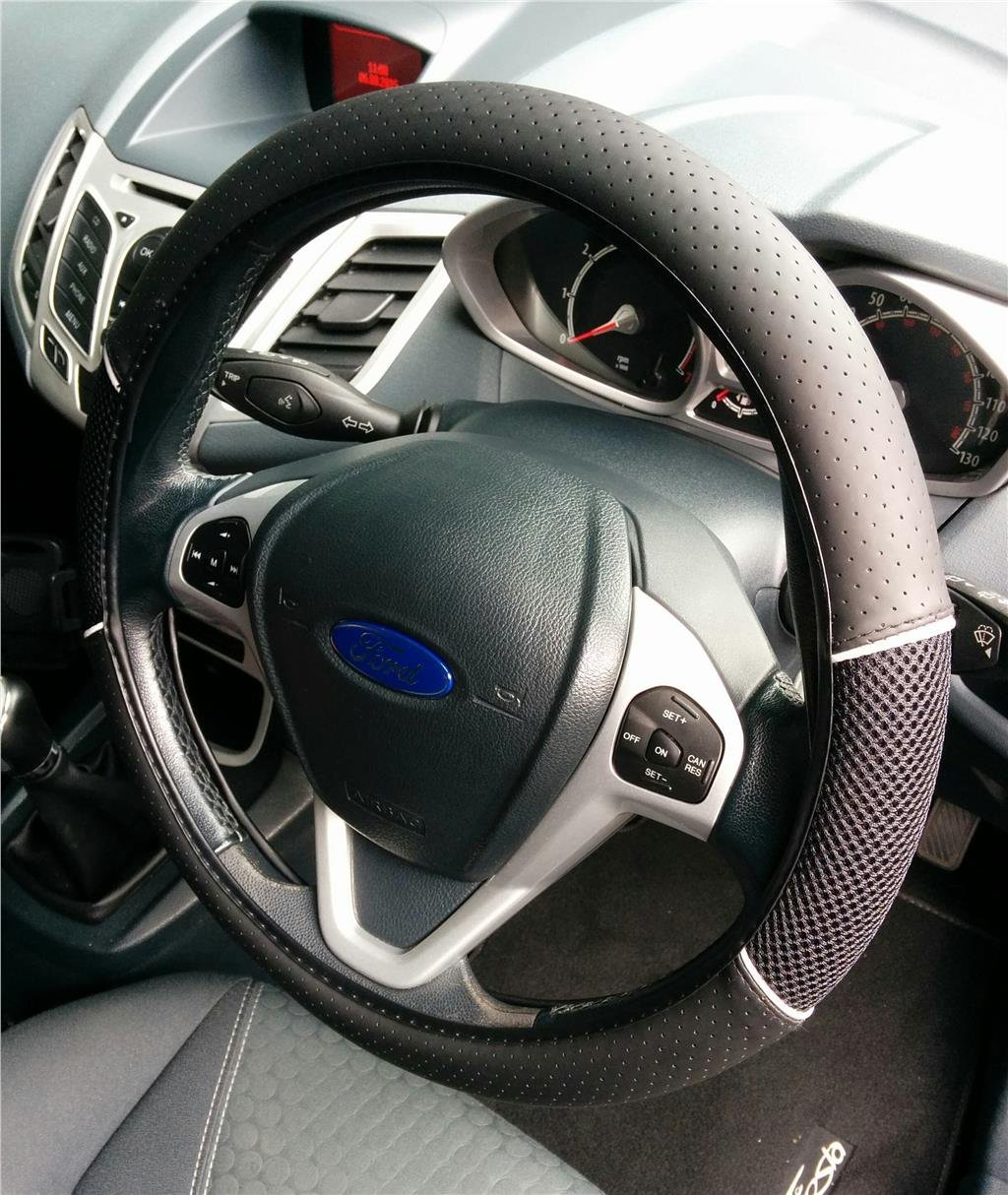 Car Steering Wheel Glove Cover Black-Black Comfy Easy Fit + Protection AutoPower
