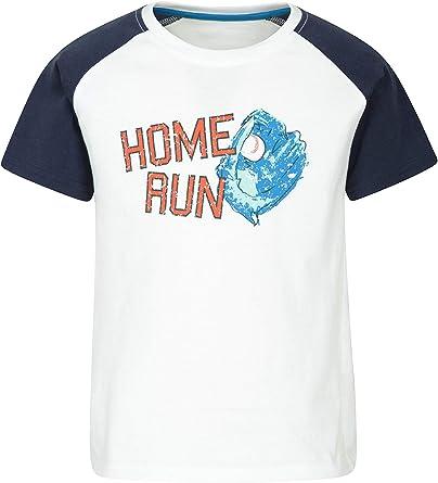 Mountain Warehouse T-Shirt de béisbol Infantil - Camiseta 100% algodón para niños, Parte de Arriba Ligera, diseño Divertido, Top Transpirable - para Caminar, Vacaciones: Amazon.es: Ropa y accesorios