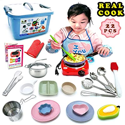 Kids Junior Real Baking Tools and Cooking Culinary Great Educational Gift Utensils Set - 22 Pc. With Stove Burner, Pots Pans for Easy Cook Supplies Chef Toy Costume for Boys, Girls, Kids, Child: Toys & Games