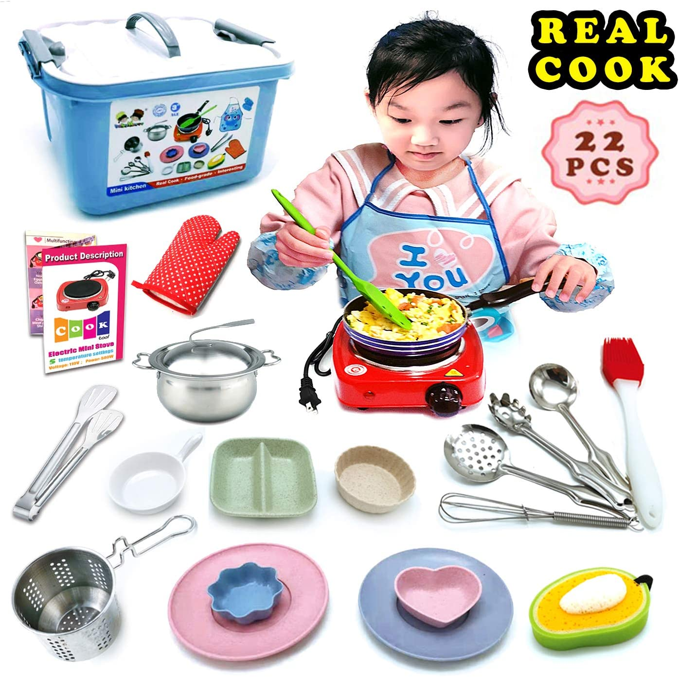 children Kids Cooking and Baking Set Junior Utensils DIY Play Kitchen Kit Real Cooking With Burner Stainless Steel Pots Pans for Easy Cook Supplies Chef Toy Costume Great Gifts for Kids Girls Boys