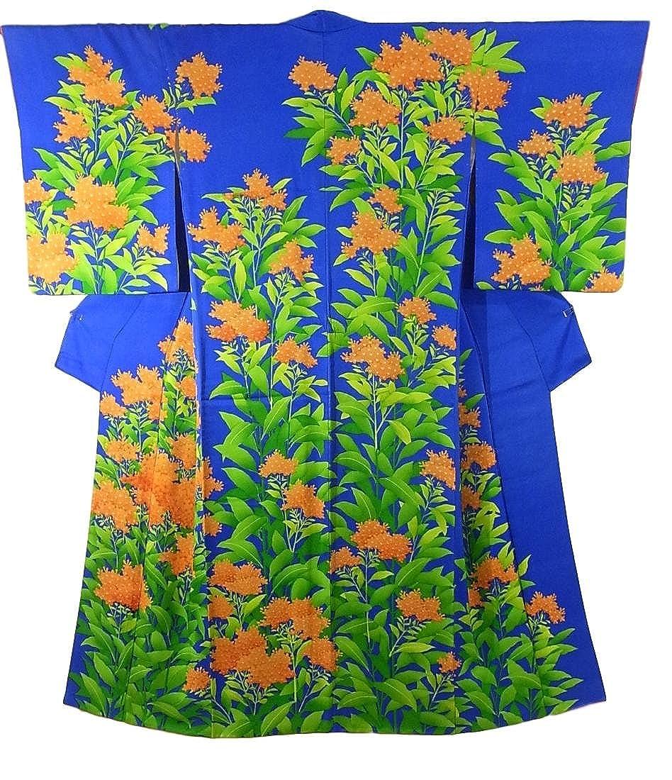 リサイクル 着物 訪問着 鮮やかな花模様 華やか 裄66cm 身丈160cm B07DPJQ4JM  -