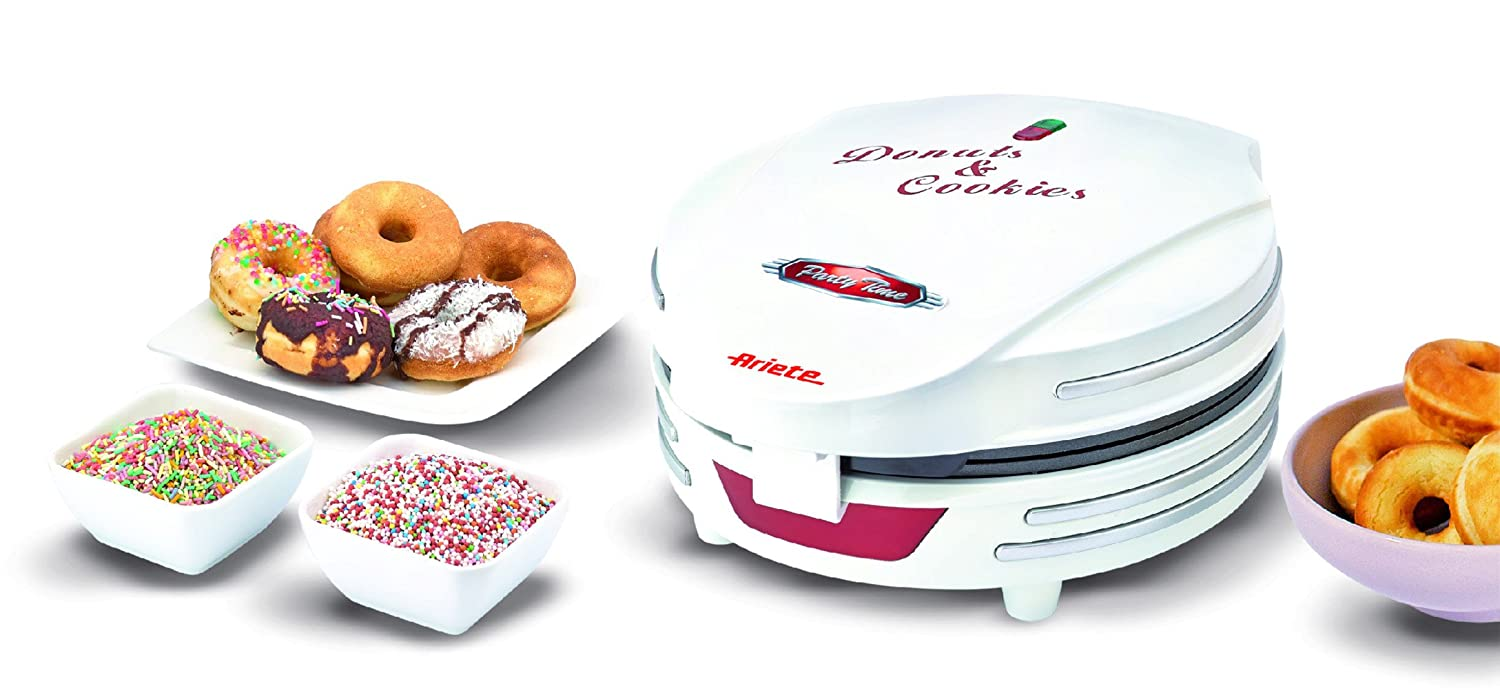 Ariete 189 MÁQUINA DE Donuts Y Cookies Party Time, Rojo, Color Blanco: Amazon.es: Hogar