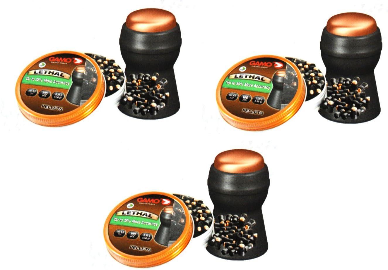 Outletdelocio. 3 latas de 100 perdigones Gamo Lethal 4,5mm. Modelo 322740. Alta precisión