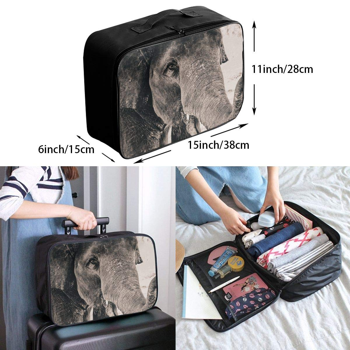 Travel Luggage Duffle Bag Lightweight Portable Handbag Elephant Print Large Capacity Waterproof Foldable Storage Tote