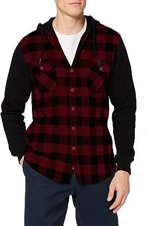 Urban Classics Hooded Checked Flanell Sweat Sleeve Shirt Sudadera para Hombre