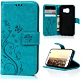 Galaxy S7 Case Samsung Galaxy S7 Case Leather Flip Wallet Cover Shell Premium Full Protective with Credit Card Holder Stand Magnetic Closure - Blue