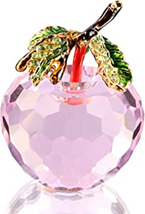 Xinkulas Faceted Crystal Apple Figurine Paperweight Enameled Rhinestone Leaves Blessing Apple Statue Christmas Gift Home Decor (Pink, 2 inches)