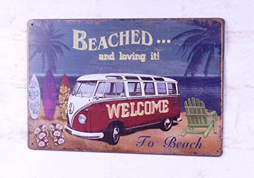 Welcome to Surfing Club Vintage Tin Metal Signs Shop Beach Decor Art Wall Poster