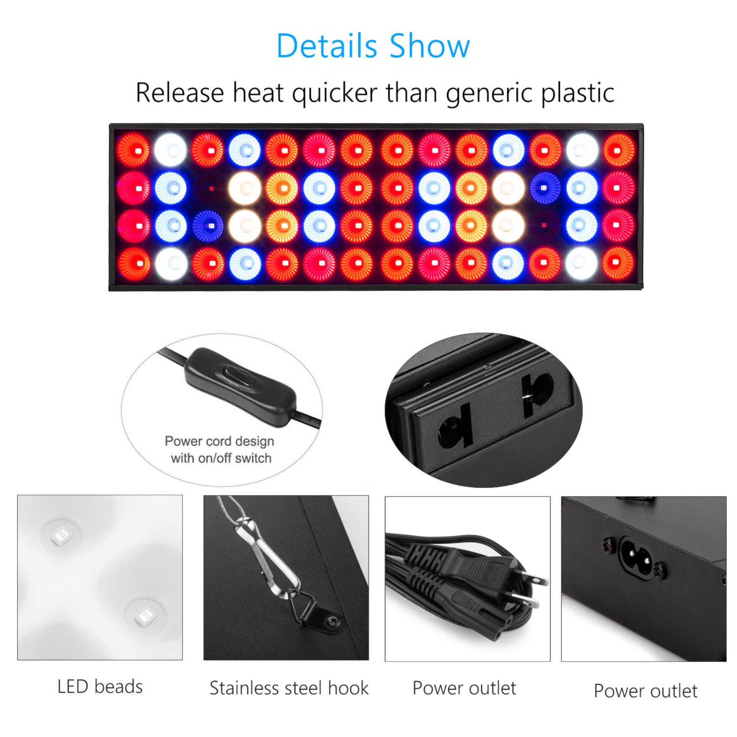 30W LED Grow Light,ZXMEAN Reflector-Series Growing Lamps with Daily Chain Hanging kits,Full Spectrum Plants Grow Lights for Indoor Plants,Hydroponic Greenhouse Seedling Vegetative and Flowering