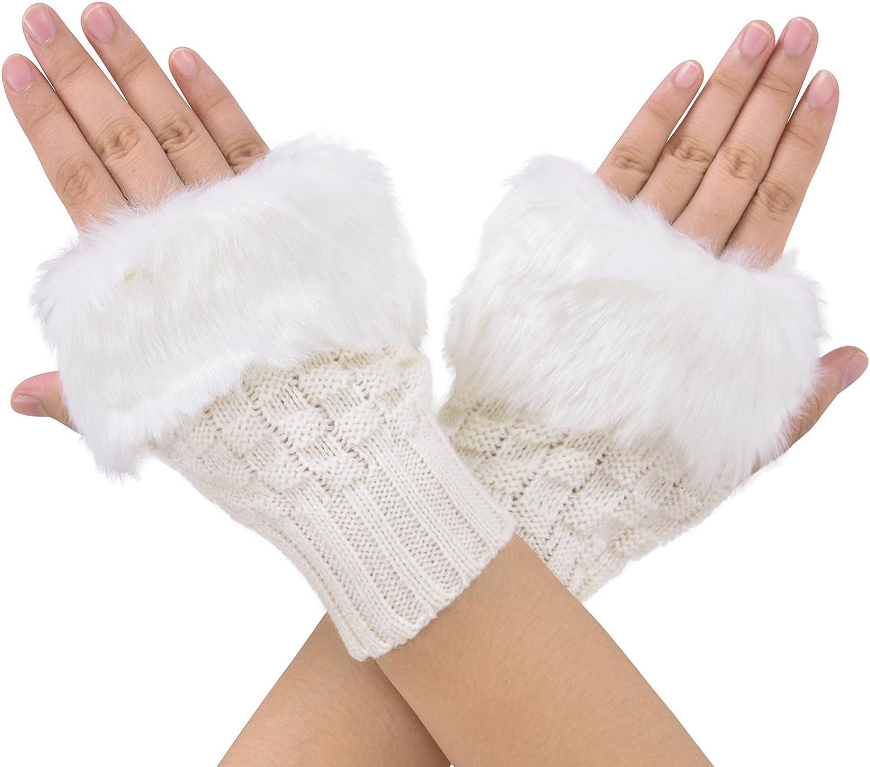 Women Faux Rabbit Fur Hand Wrist Mitten Winter Warmer Fingerless Glove YU