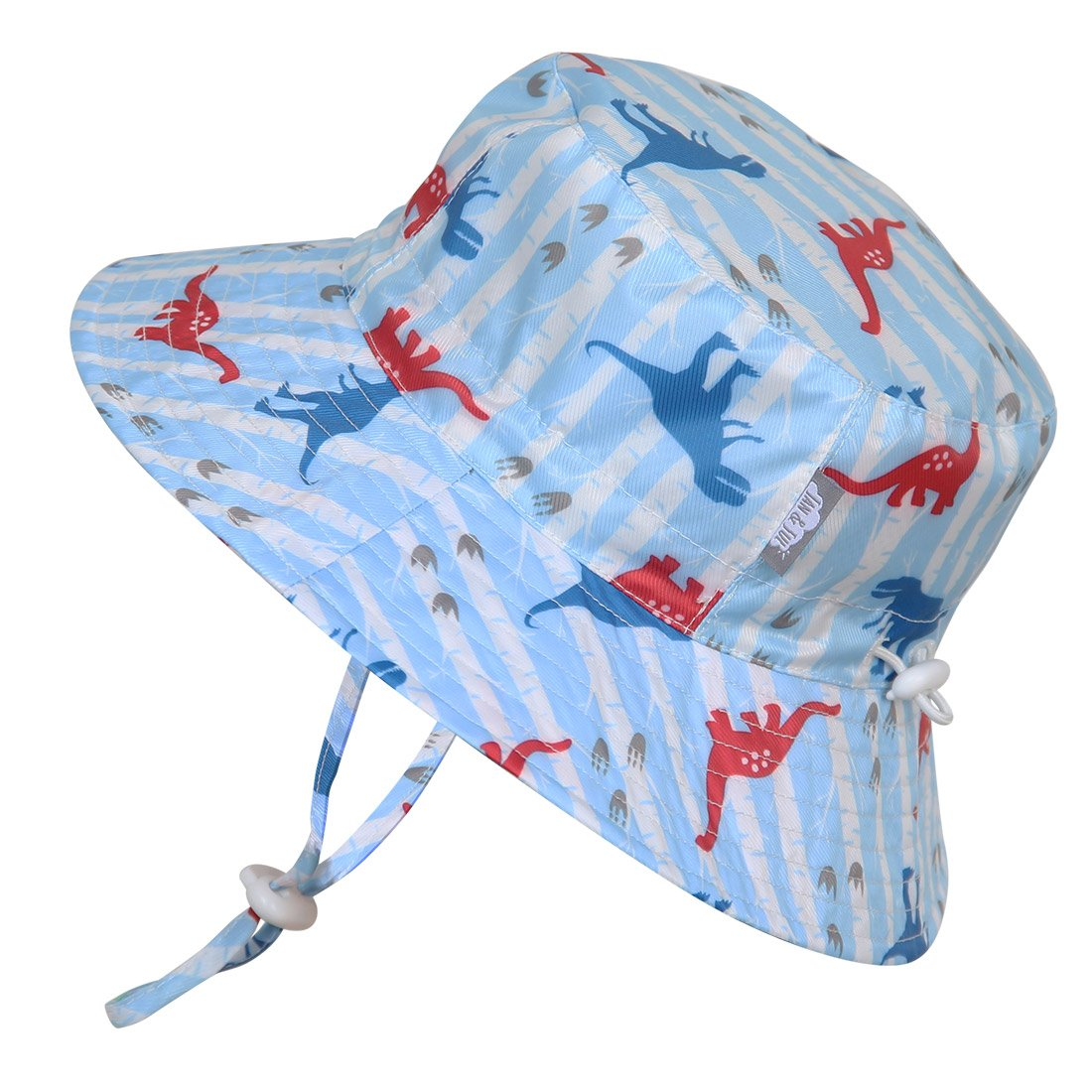 Toddler 50+ UPF Bucket Sun Hat, Size Adjustable Aqua Dry ( M: 6 - 18m, Dino ) 14-60M