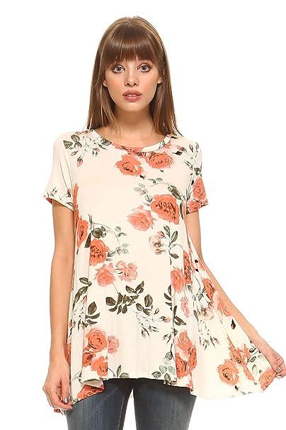 a3dbe193c0d Frumos Womens Tunic Top for Leggings Round Neck T ShirtsIvory Sunrise Small