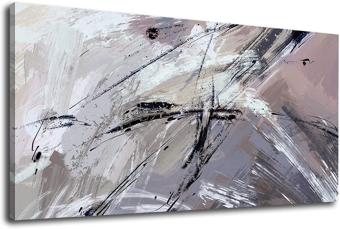 """tigeridge Abstract Wall Art Grey Black Modern Canvas Pictures Contemporary Canvas Artwork for Bedroom Living Room Bathroom Kitchen Office Home Wall Decor Framed Ready to Hang 20"""" x 40"""""""