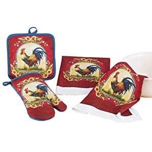 French Country Rooster and Sunflowers Kitchen Linen - Set of 4 Includes 2 Matching Dish Towels, Pot Holder, and Oven Mitt