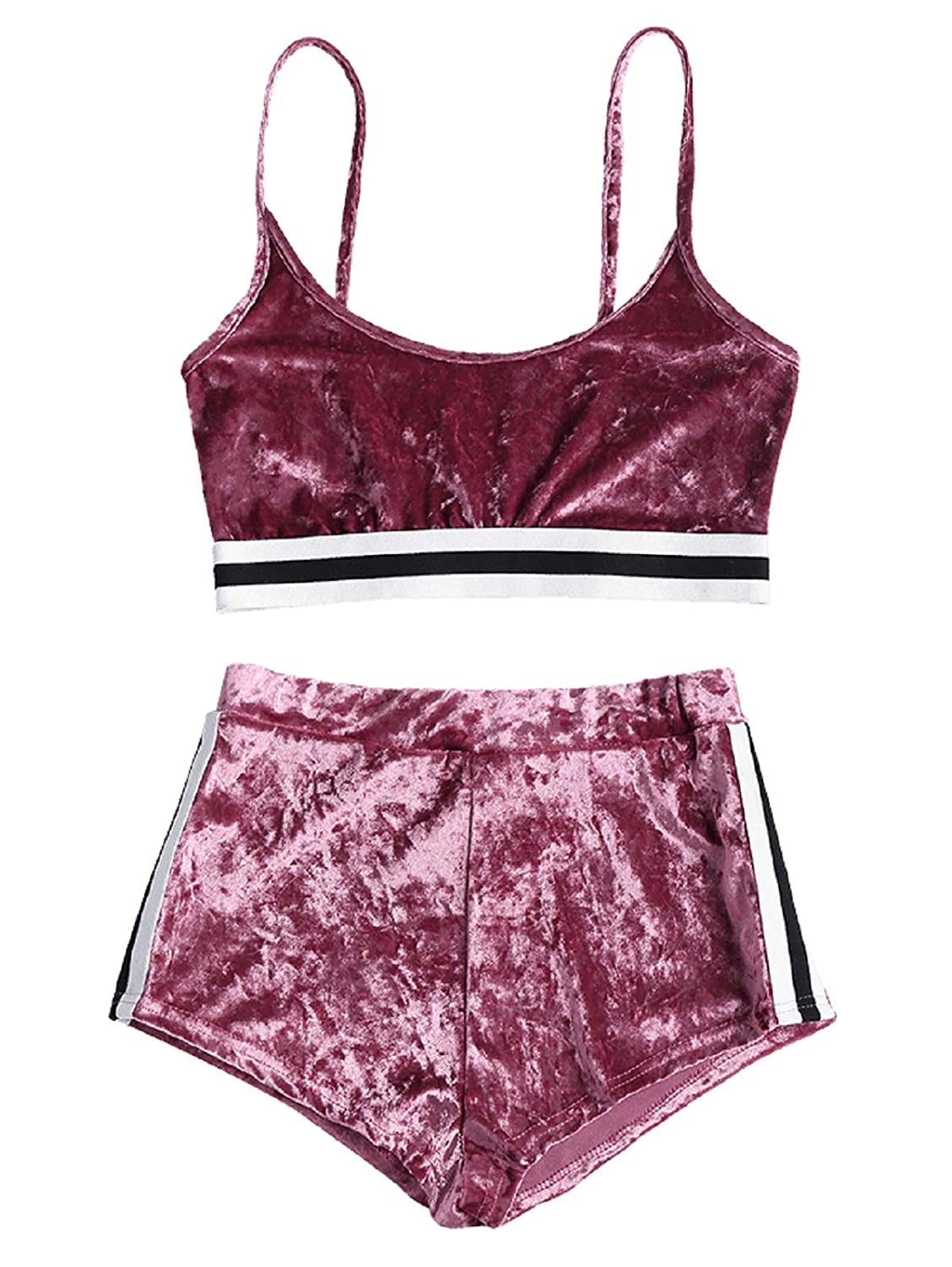 b56981aa ZAFUL Womens Spaghetti Straps Bralette Side Stripe Velvet Top Shorts ...