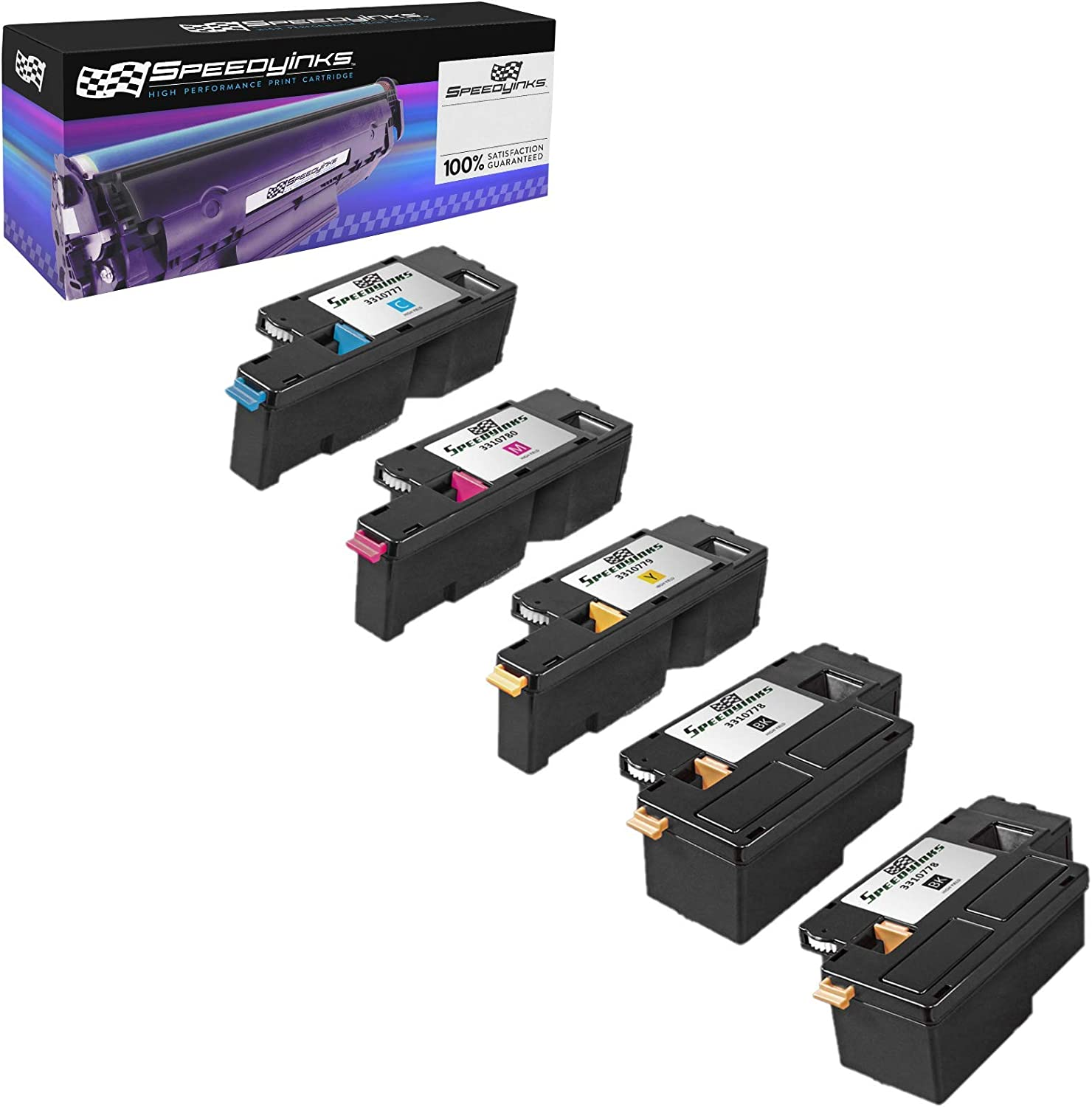 Speedy Inks Compatible Toner Cartridge Replacement for Dell 1250 (2 Black, 1 Cyan, 1 Magenta, 1 Yellow, 5-Pack)
