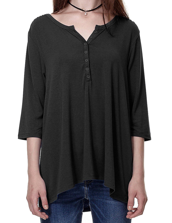 Regna X Boho Women's Oversize 3 4 & Long Sleeves Swing Tunic Knit Shirts Tops 8BTCA17701_P