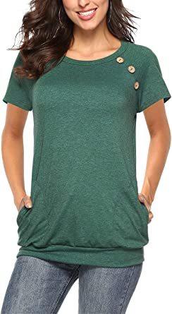 NICIAS - Camiseta de manga larga con cuello redondo y botones sueltos, para mujer: Amazon.es: Ropa y accesorios