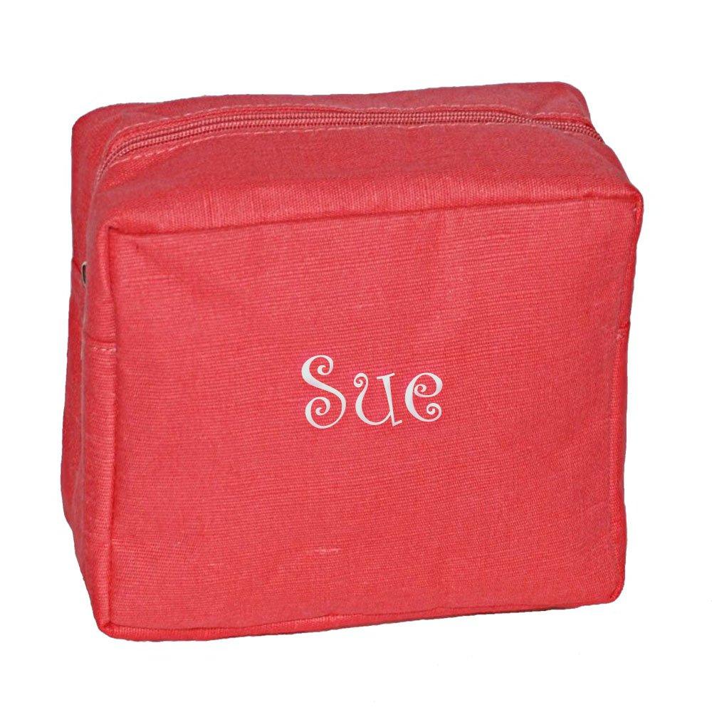 Personalized Coral Jute Cosmetic Makeup Organizer Bag