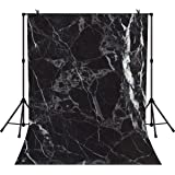 RBQOKJ 10x6.5ft Black Marble Backdrop Natural Stones Texture Pattern Background Abstract Marble Photography Backdrops for Photo Shoot Studio Prop