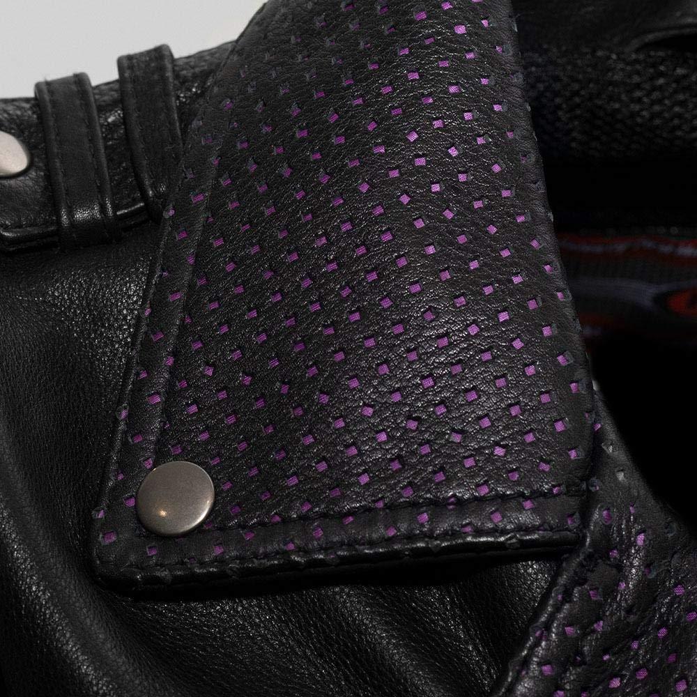 Womens Leather Motorcycle Jacket - Iris First MFG Co Black, Large