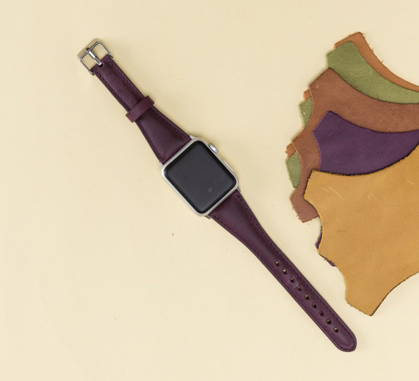 Apple Watch Band for Women, 38mm, 42mm, Purple iWatch Leather Band, Thin Feninine Aplle Watch Band, Genuine Leather Apple Watch Strap