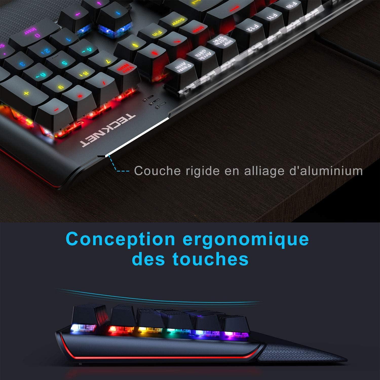 Tecknet - Teclado mecánico para gaming, 105 teclas con retroiluminación personalizable LED, reposamuñeca, programable y antighosting, Fr