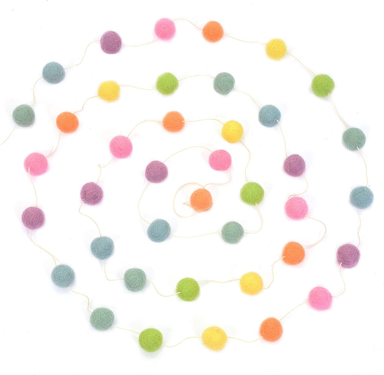 Glaciart One Wool Felt Ball Garland - Pom Pom Garland - 12 Feet, 40 Balls, 7 Pastel Colors, Pom Pom Decorations, Nursery Decor, Bunting, Birthday Party Decorations, Easter, Photo Prop