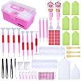 New Design LED Diamond Painting Pen Cross Stitch Tool Set 118 Pieces, Marry Acting Diamond Embroidery Storage Box Kit for DIY Art Craft (Color: 118pcs, Tamaño: 9.84*5.71*1.18inch)