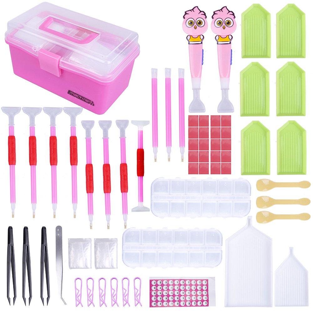 New Design LED Diamond Painting Pen Cross Stitch Tool Set 118 Pieces, Marry Acting Diamond Embroidery Storage Box Kit for DIY Art Craft