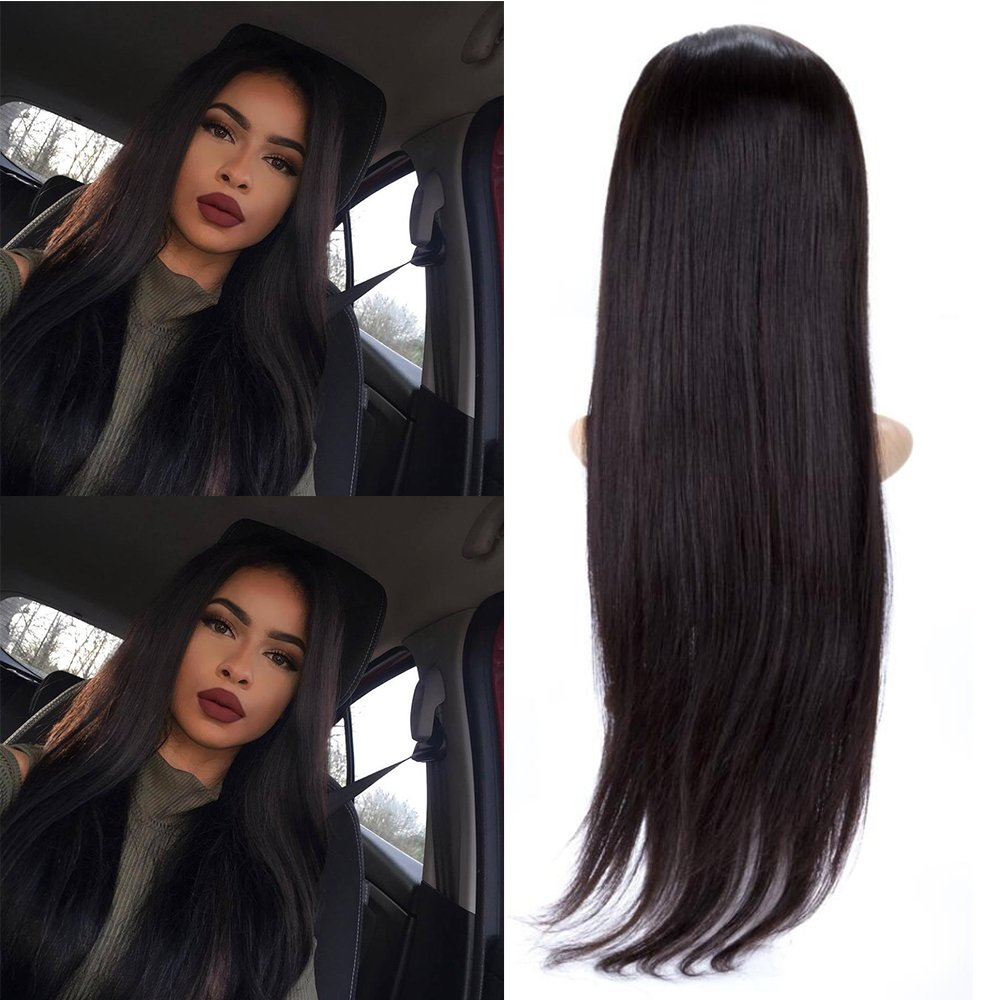 BeliHair Brazilian Remy Glueless with Baby Hair for Black Women 130% Density Human Hair Full Lace Wigs Straight Natural Black 20 inch