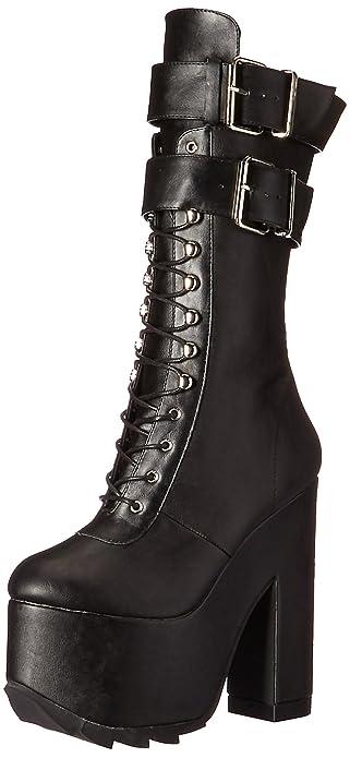 "6 1//4/"" Block Heel Ridged Platform Gothic Punk Double Buckle Calf High Boots"