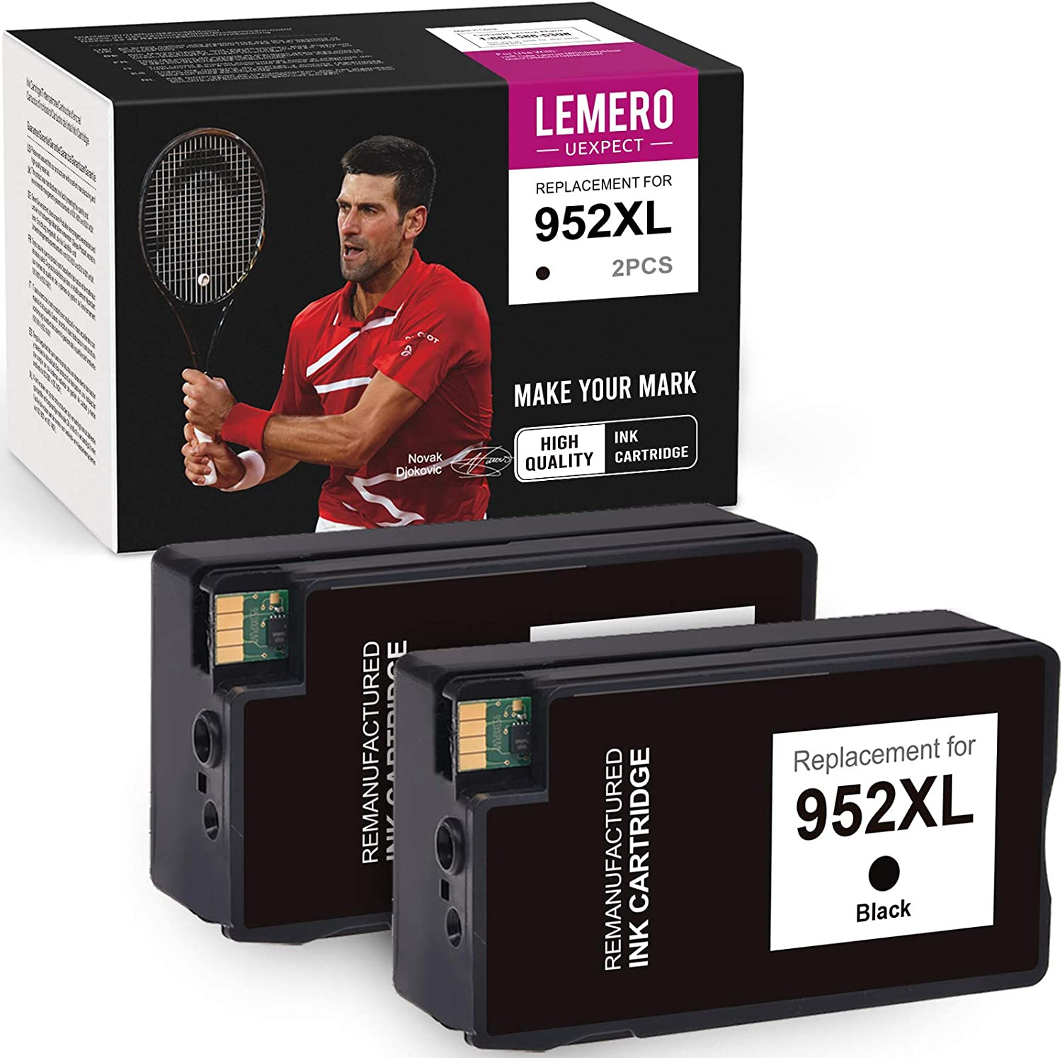 LemeroUexpect Remanufactured Ink Cartridge Replacement for HP 952 XL 952XL for Officejet Pro 8710 7720 7740 8720 8740 8730 7730 8216 8745 8719 8718 8218 8715 8725 Printer (Black, 2-Pack)