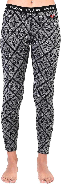 %100 Merino Wool Womens Leggings, Thermal Base Layer Bottoms, Pink Gray Pattern - Large